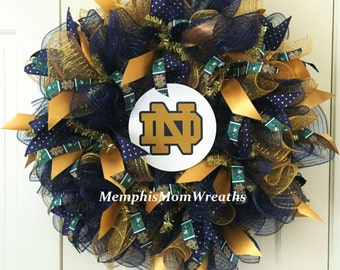 Notre Dame Fighting Irish Deco Mesh Wreath - Deco Mesh Wreath - Notre Dame Wreath - College Football Wreath