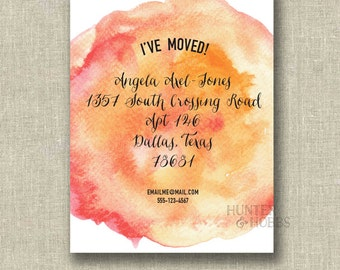 Watercolor Moving Announcement Change of Address