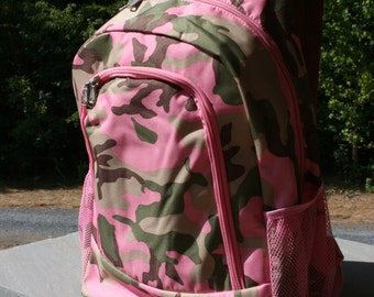 Girls PInk Camo Custom Monogrammed Backpack Girls Pink Camouflage Personalized Bookbag