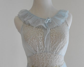 Vintage light blue chiffon and lace nightgown