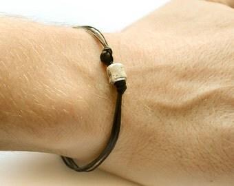 Black cord bracelet - men's bracelet with a silver plated tube charm and a black cord - bracelet for men, gift for him, stack bracelet