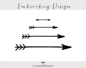 Arrows Four Sizes 1inch 2inch 3inch 4inch Embroidery Design, Tribal Arrows, Embroidery Arrows, Arrows Embroidery Design, Modern Embroidery