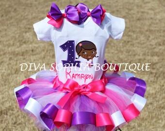 Personalized Doc McStuffins Ribbon Tutu Set - Birthday Set