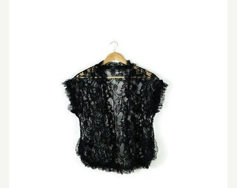 STORE WIDE SALE Vintage Black Lace Sleeveless Blouse/Cardigan from 80's*