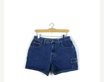 SUMMER SALE Vintage High Waist Blue Denim Shorts from 80's/W28*