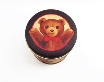 Vintage Teddy Bear Candy Tin/ Vintage Children's Tin/ Vintage Trinket Tin/ Small Knick Knack/ Cookie Tin/ Cute Bear Tin/ Gifts