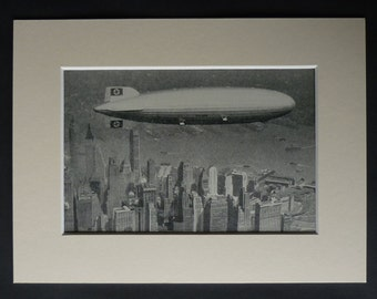 1930s Antique German Zeppelin Print, Available Framed, Airship Art, New York Skyline Gift, American Aerial Photography, Old Hindenburg Decor