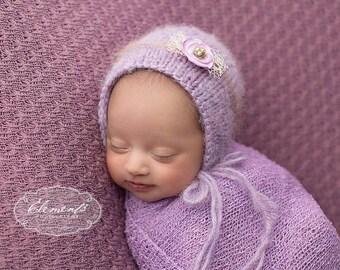 Lilac Newborn Bonnet , Baby Lavendar knit  Bonnet ,Newborn Girl Phot Prop Bonnet