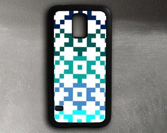 Samsung Galaxy S5 Case Tribal Pattern, Blue Teal Galaxy S5 Case Rubber Sides, Galaxy S4 Case, Samsung Galaxy S7 Case
