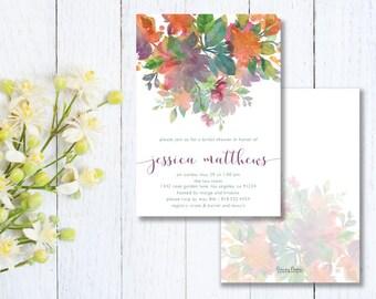 Floral Wedding Shower Invitation - Flower Bridal Shower Party Invite - Garden Shower Invitation - Digital File