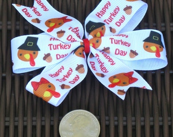 Thanksgiving Turkey 4 Inch Hair Bow- Thanksgiving Turkey Pinwheel Bow  - Thanksgiving Party - Thanksgiving Party Bow - BowBravo