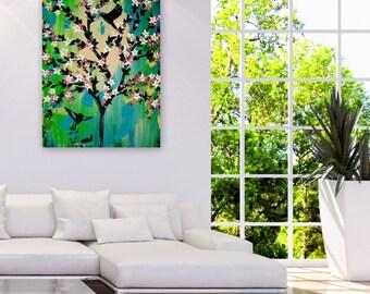 "green painting, green art, green tree of life, cherry blossom painting, paintings of blossom trees, blossom tree, painting, green, 36"" x 24"""