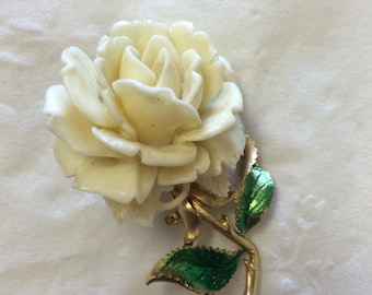 Vintage white Mambelle rose pin