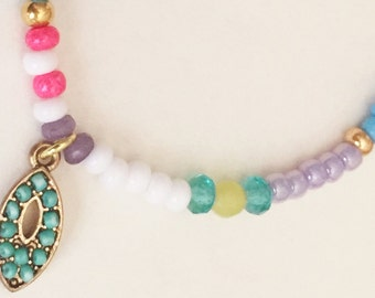 Pink, Blue, Green and Jade Sead Bead Friendship Bracelet with Charm