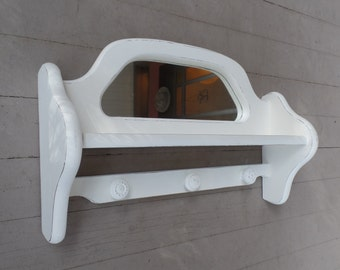 Shelf - Vintage Wood With Mirror And Knobs - Shabby Chic Shelves - Cottage White Distressed Finish - Cottage Chic Wall Mirror