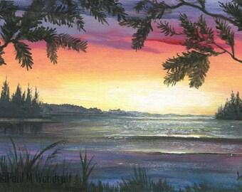 """ACEO original painting, art card atc, """"Sunset Lake 22"""""""