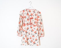 70s beige & red floral tunic / striped 3/4 sleeve micro dress / size M