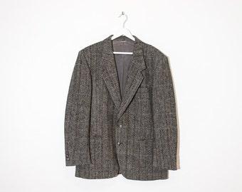on sale - black and cream herringbone blazer / grey unisex oversized boxy jacket / size L / XL