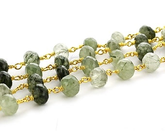 Green Rutilated Rondelle Rosary Style Beads Chain, 7-8mm 24k Gold Plated Wire Wrapped Rosary Chain, GemMartUSA (GPRT-30035)