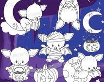 80% OFF SALE Halloween digital stamp commercial use, vector graphics, digital stamp, digital images - DS910