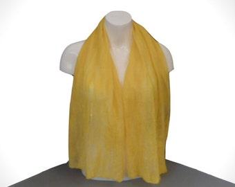 Wool on silk nuno felted scarf in sunshine yellow