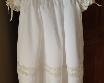 White Pin Tucked Square Yoked Dress with Lace and Tucked Bands