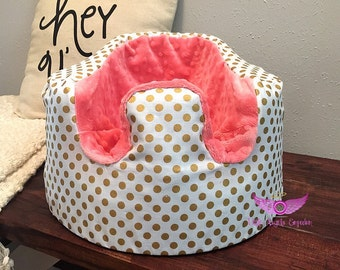 White and Gold Polka Dot and Pink Coral Minky Bumbo Seat Cover