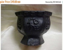 SALE Vintage Made in Mexico Pottery Vase/Planter Oriental Symbols design Black color