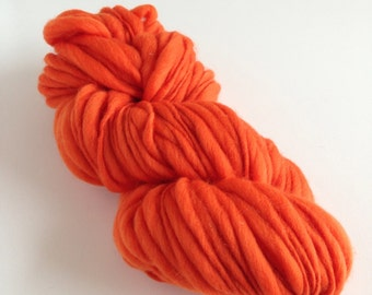 Handspun Merino Wool Yarn, Thick and Thin, 50 yards - Carrot