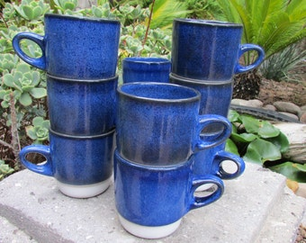 Edith Heath Opal Blue rim line stack mugs designed in the 1960s