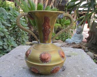 Vintage Brass and copper Two Handeled Vase Vessel bohemian Moroccan