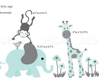 Safari Wall Decal, Nursery Wall Decal, Mini Decal, Giraffe Decal, Jungle Animal wall decal, monkey decal, Shades of Aqua Design