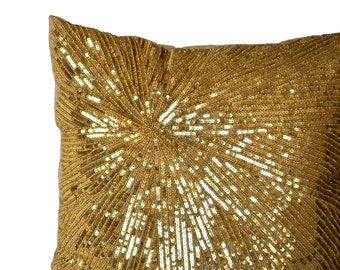 Gold Pillow Cover, Gold Decorative Pillows, Gold Glitter Sparkle Pillow, Mother's Day Gift, Gold Cushion, Gold Accent Pillow, Luxury Gift