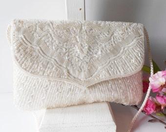 White Evening Bag Vintage White Beaded Clutch Bag Glamorous White Purse Wedding Bridal EB-0027