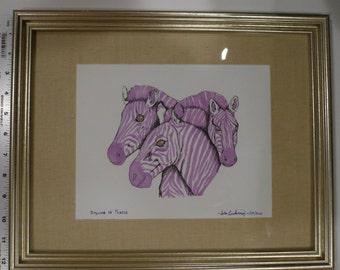 """STYLING IN PURPLE - A Study of Three Zebras - Original, One of a Kind Framed Picture - 15.5"""" x 12.5"""""""