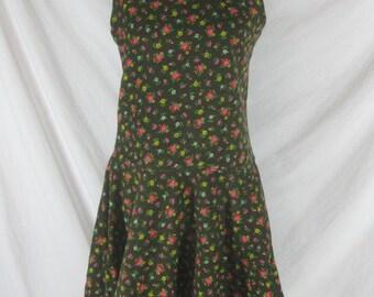 Vtg 50s 60s Miss Q Brown Floral Corduroy Vintage Mod Mini Dress W 32