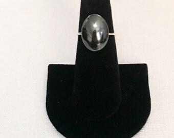 Gemstone Statement Ring. Dark Silver/Black Hematite Cabochon Sterling Silver Ring