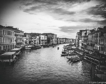 "Venice Photography - black white venice print grand canal 16x20 landscape 11x14 venice wall art italy travel photography 8x10 ""Nightfall II"""