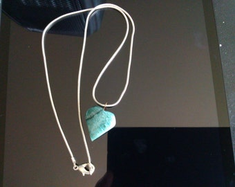 Turquoise colored stone heart necklace