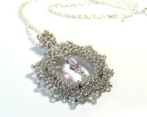Amethyst Pendant Glass Seed Bead Jewelry Birthstone Iridescent Pastel Necklace Sterling Silver Pretty Jewelry Gift For Her 16 Inch, 18 Inch