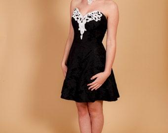 Stunning vintage black white Jessica Mclintock GUNNE SAX pearl beaded strapless PROM dress