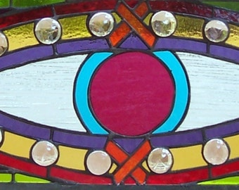 Stained Glass Evil Eye Window Panel, Talisman, Nazar, Ward Off Evil Spirits, Large Colorful Art Glass Window, Protective Symbol, Home Decor