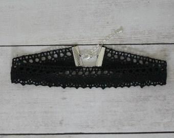 Black Crochet Choker,  Black Choker,  Black Choker Necklace, Boho,  Festival, Crochet Lace Choker