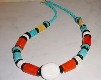 Coral Turquoise Necklace Orange Handmade Coral Howlite Shell Glass and Stone Beads