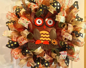 Fall Wreath/ Thanksgiving Wreath/ Deco Mesh Wreath/ Fall Deco Mesh Wreath/ Owl  Wreath/ Fall Door Decor
