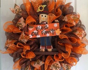 Fall Wreath/ Scarecrow Deco Mesh Wreath/ Thanksgiving Wreath/ Harvest Wreath/ Fall Mesh Wreath