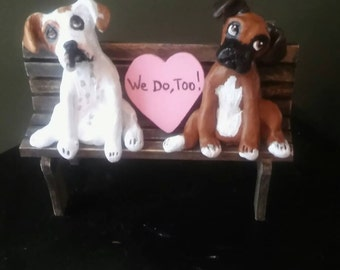 Dog Wedding Cake Topper Boxer wedding cake topper, Bride and Groom  Custom made can be personalized ANY BREED made from photo of your pet