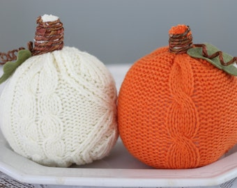 Sweater Pumpkins - Fall - Set of Two - Orange and White Pumpkins - Farmhouse Style - Bowl Fillers