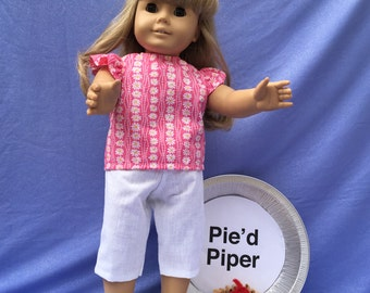18 inch Doll Clothes - Pink and White Capri Set