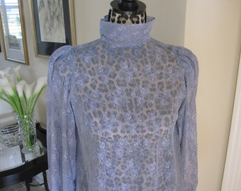 BLUE LACE MINI Dress/Tunic With High Collar Long Sleeves